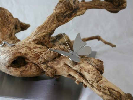 Stainless steel butterfly on driftwood.