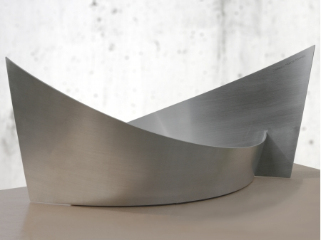 Stainless steel bowl which resembles a boat. Measurements: 40 x 65 x 32 cm. Series of 5, of which 4 sold.