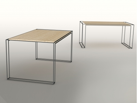 Handmade oak table surrounded by a stainless steel harness. Measurements: 160 x 90 x 75 cm. Series of 2, of which 1 sold.
