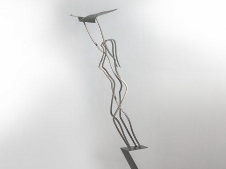 Stainless steel thread figure of a woman holding a bird, on a ribbon pedestal made of stainless steel with a freestone base. Measurements: 160 x 70 x 50 cm. Series of , of which  sold. 